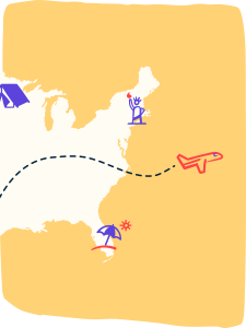 Illustration of travel activities on the U.S. map.